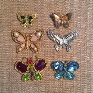 Bundle of 6 pretty Butterfly Brooches